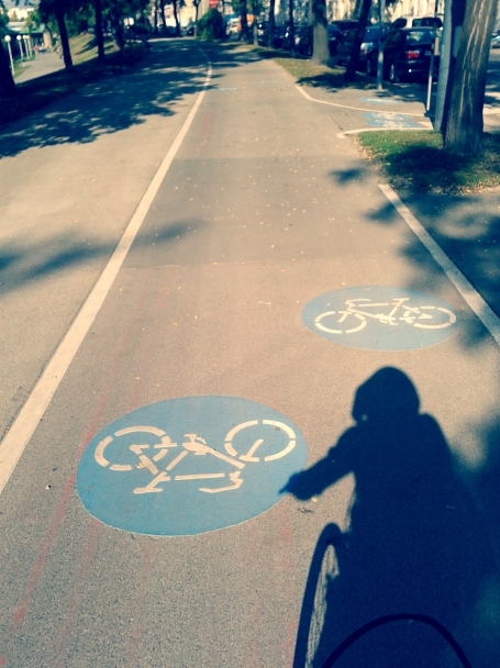 "this is me, biking at the bike lane along to the ""donaukanal"""